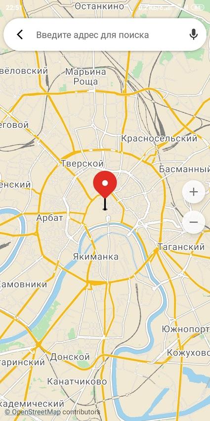 Карта поиска мест и адресов